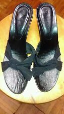 "Donald J Pliner Women 7.5 M Slides black  Fabric sandals 2"" heels shoes"