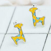 Cute Giraffe Shaped Stud Earrings Women Silver Plated Simple Stud Jewelry Gift