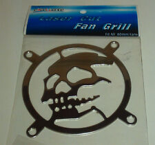 COMPUTER CASE FAN GRILL CHROME METAL SKULL HEAVY DUTY 80MM