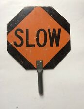 STOP / SLOW double sided SIGN crossing SCHOOL octagon METAL vintage PADDLE auto