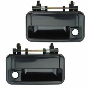 Front Outside Exterior Door Handles Black Left & Right Pair Set for Chevy Geo