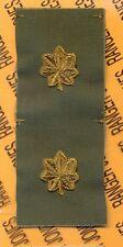 US ARMY Major MAJ OD Green & Black rank patch set