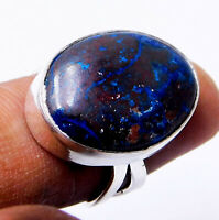 Natural Shattuckite 925 Sterling Silver Plated Handmade Jewellery Ring Size-O