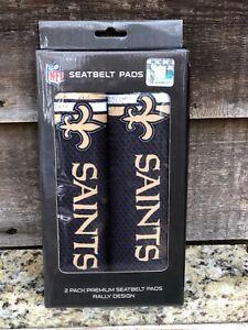 NFL-New Orleans Saints Logo Tailgate Seat Belt Pad Set-Go Saints Nation!