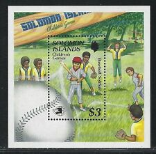 1989 Solomon Islands Scott #652 - Children's Games Baseball Souvenir Sheet - MNH