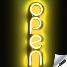 Vertical Led Neon Open Sign Light for Business - Yellow