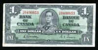 1937 BANK OF CANADA $1 Gordon & Towers Rare Changeover O/M prefix BC-21c