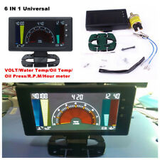 "5"" LCD Digital 6 in1 Volts,Clock,RPM,Water Temp,Oil Temp,Oil Press Car LED Gauge"