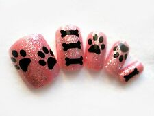 20pc, 25pc, 50pc 70pc Paw print and dog bone Vinyl nail sticker decals