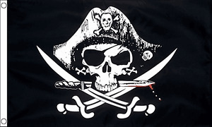 Pirate Flag 3ft x 2ft Polyester Jolly Roger Skull and Cross Sabres Biker Flags
