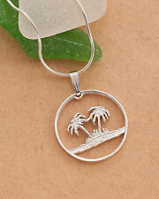 Silver Palm Tree Pendant, Palm Tree Necklace,Tropical Jewelry, ( # 582S )