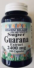 Super Guarana Extract 2400 mg 200 capsules Energy Weight-loss Fatigue Fighter