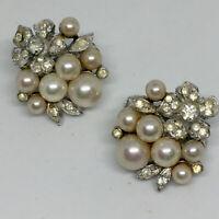Vintage Rhinestone Vendome Pearl Earrings Silver Tone Clip On Bridal