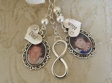 Vintage Inspired Ivory Mum & Dad Infinity Memorial Bouquet Photo Charm/Bridal