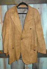 Vintage Kurland Star Sportswear Beige Suede Leather Coat Jacket Size 46 Xl