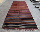4'7 x 12'9 Hand woven vintage afghan qalaino kilim rug, Handmade wool kilim rug