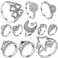 Crystals Silver Rings Wedding Engagement Size 6-9 for Fashion 925 Jewelry Gifts