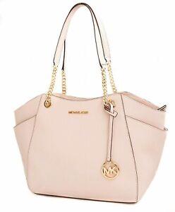 Michael Kors Bag Handbag Jet Set Travel Chain Saffiano Powder Blush New