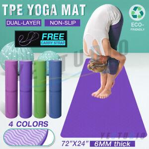 TPE Yoga Mat Non Slip Dual Layer Friendly Eco Exercise Fitness Gym Pilates NEW