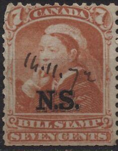 Canada Revenue VanDam #NSB8 7c Nova Scotia orange bill stamp of 1868