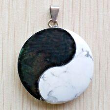 89e8c1a44287e Pendentif Yin-Yang pierre (onyx et howlite) avec chaîne plaqué argent 51 cm