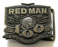 Red Man Chewing Tobacco Native American Indian Chief Vintage Belt Buckle