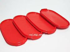 New TUPPERWARE Modular Mates Oval Seal Lid Cover Red Set (4 pcs)