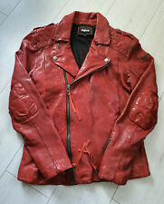 TIGHA Herren Biker Lederjacke Elon True Red Size M