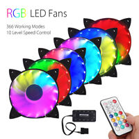 6 x RGB LED Quiet Computer Case PC Cooling Fan CPU Cooler & Remote Control 120mm