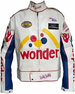 Ricky Bobby Racing Wonder Bread Nights Speed White Leather Motorcycle Jacket
