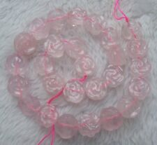 """14mm Natural Rose Quartz Double-sided Carving Flower Loose Beads 15"""""""