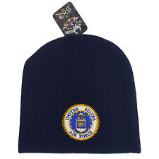 US Military Air Force Logo Patched Blue Beanie Cap