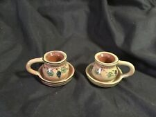 2 Lang Redware Wine Country Ceramic Candle Holders Thumb Hole Grapes Chic Decor
