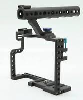 DSLR Camera Cage W/ Top Handle Grip For Panasonic Lumix GH5 Camera Rig Aluminum