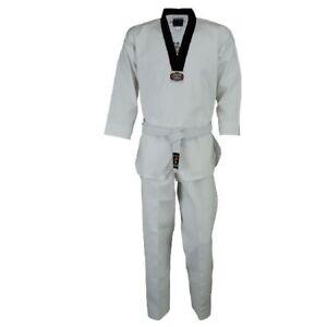 Korean Ultimate Taekwondo Uniform Plain Back Suits Black V Neck WTF Adults GI