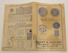 1949 Hunt & Company Gambling Casino Supply Catalog Punch Boards Chips Dice Vtg