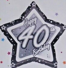 FOIL BALLOON 40TH HAPPY BIRTHDAY PARTY AGE 40 BLACK AND SILVER STAR