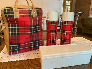 Vintage 1960 Thermos Red Plaid Picnic Set with 2 Thermos plastic sandwich box