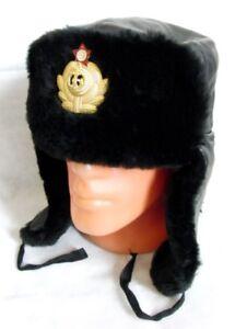 USSR Russian Navy Officer Black Mouton Sheepskin Fur Ushanka Hat Badge 60cm XL