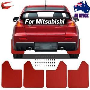 Red Racing Mud Flaps Splash Guards For Mitsubishi Lancer Evolution EVO X W/Clips