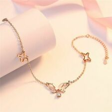 Butterfly Tassel Anklet 925 Sterling Silver Cubic Zirconia Women Jewelry Fashion