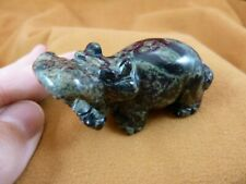 (Y-Hip-717) green black roaring Hippo Hippopotamus Gemstone carving figurine gem