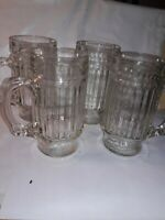 """Vintage Root Beer Clear Glass Ribbed 6"""" Mug RARE each with updifferent number"""