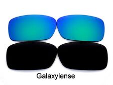 Galaxy Replacement Lenses For Oakley Crankcase Black&Green Polarized 2 Pairs