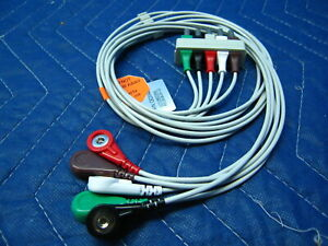 5 Lead EKG / ECG Snap Type Lead Wire Set  ~  HP Agilent and Philips Compatible