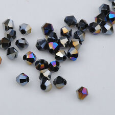 300pcs black ab exquisite Glass Crystal 4mm #5301 Bicone Beads loose beads @3