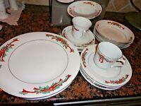 18 Pcs TIENSHAN Poinsettia & Ribbons Fine China Christmas Dinner Set Service 4
