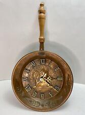 Vintage Swan Copper Pan Working Kitchen Hanging Wall Clock Wooden Handle Patina