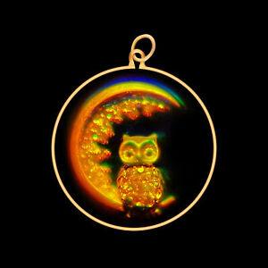 9ct Gold Hologram Pendant - Owl & Moon (Medium) - No Chain