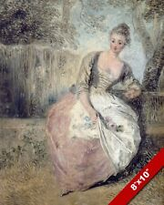 THE WORRIED LOVER WOMAN IN DRESS W FLOWERS FRENCH PAINTING ART REAL CANVAS PRINT